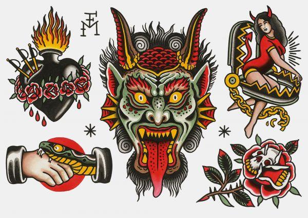 TATYYOU - DEVIL - Klebetattoos Falk Malisch A4 Bogen 5 Motive