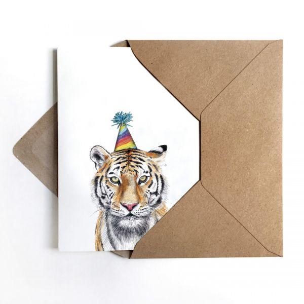 JANINE SOMMER - PARTYTIGER Grußkarte - Geburtstagskarte Poster Kunstdruck A6