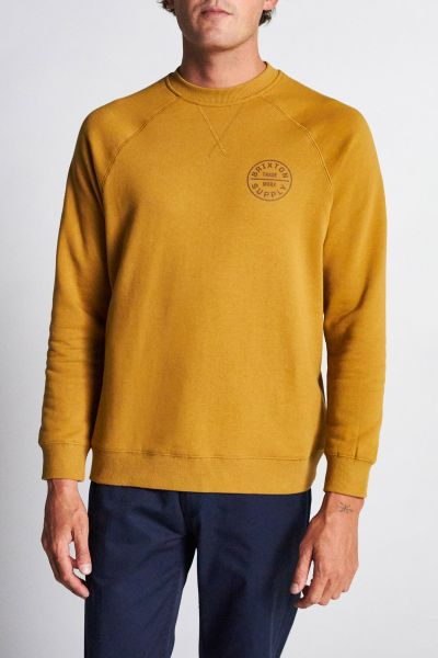 BRIXTON - OATH CREW FLEECE Sweater Pullover maize