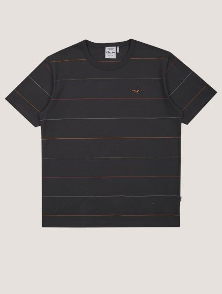 CLEPTOMANICX - OLDSCHOOL TEE MULTI STRIPE T-Shirt phantom black