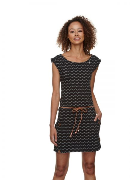 RAGWEAR - TAG CHEVRON DRESS Kleid black