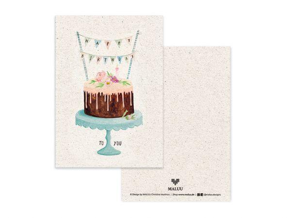 BIRTHDAY CAKE Postkarte Geburtstagskarte A6
