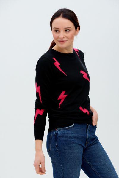 SUGARHILL BRIGHTON - VELMA JUMPER SWEATER Pullover black pink lightning strikes