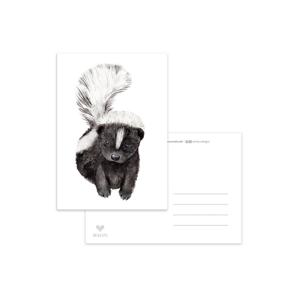 SKUNK-Postkarte-Stinktier-A6