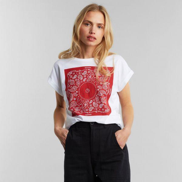 DEDICATED - BANDANA SQUARE VISBY T-Shirt off-white