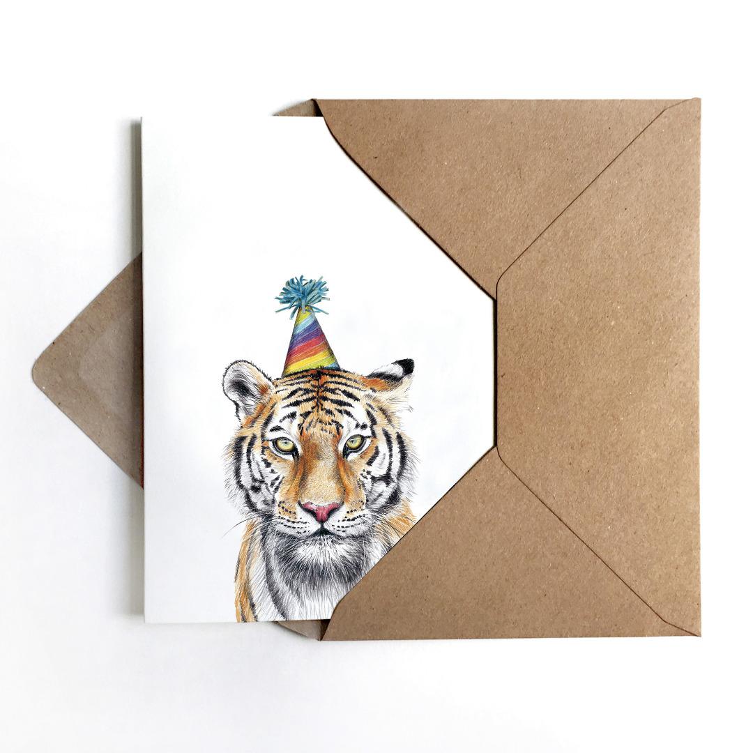 JANINE-SOMMER-PARTYTIGER-Grusskarte-Geburtstagskarte-Poster-Kunstdruck-A6