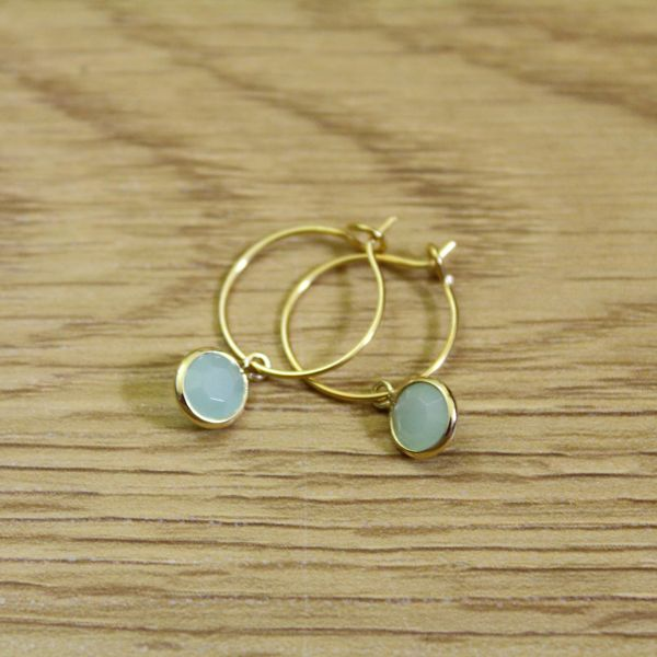 DOPPELLOTTE - DROPS TURQUOISE I Ohrschmuck gold