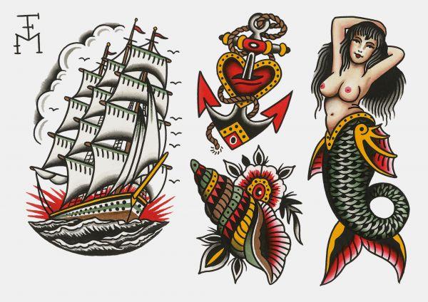 TATYOU - SEA Klebetattoos Falk Malisch A4 Bogen 5 Motive