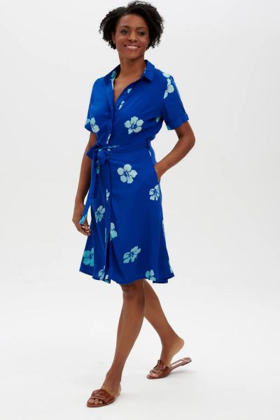 SUGARHILL BRIGHTON - ABBY BATIK SHIRT DRESS Kleid blue hawaiian flowers