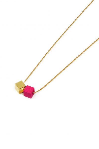 WOOD GOLD PINK Halskette