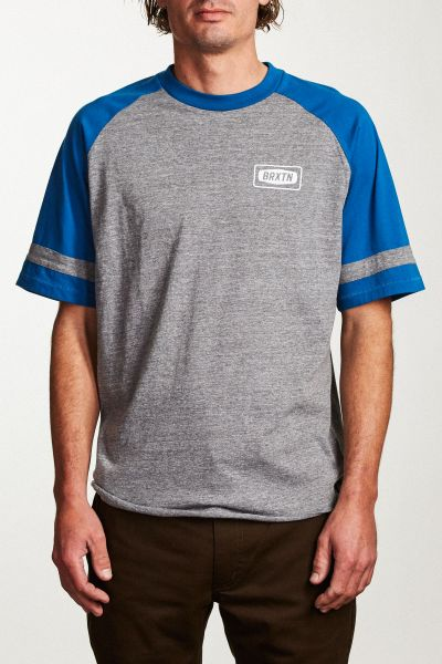 BRIXTON - ROCKFORD BASEBALL TEE Shirt heather grey/royal