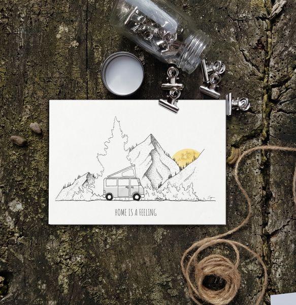 LAGOM - HOME IS A FEELING Postkarte A6 quer