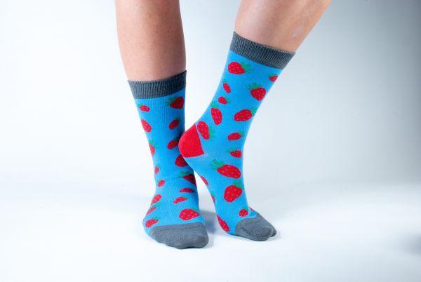 DORIS & DUDE -  BLUE STRAWBERRIES SOCKS Damensocken blue