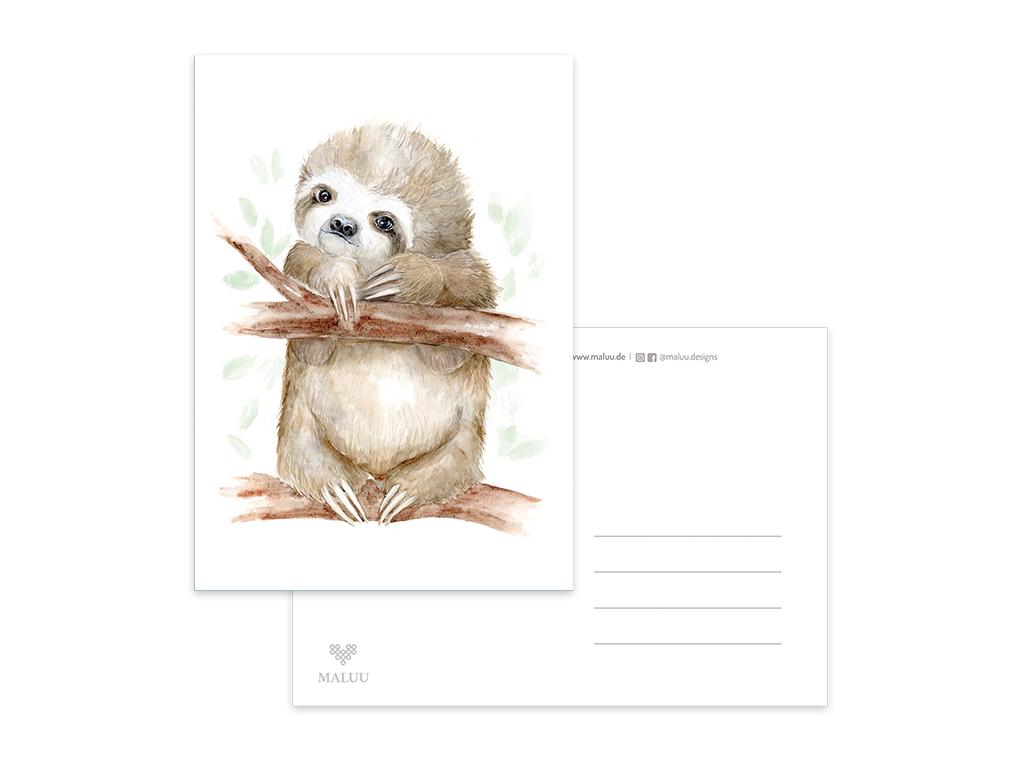 MALUU-SLOTH-Postkarte-Faultier-A6