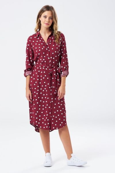 SUGARHILL BRIGHTON - REVA BRIT POP Polka Shirt Dress burgundy