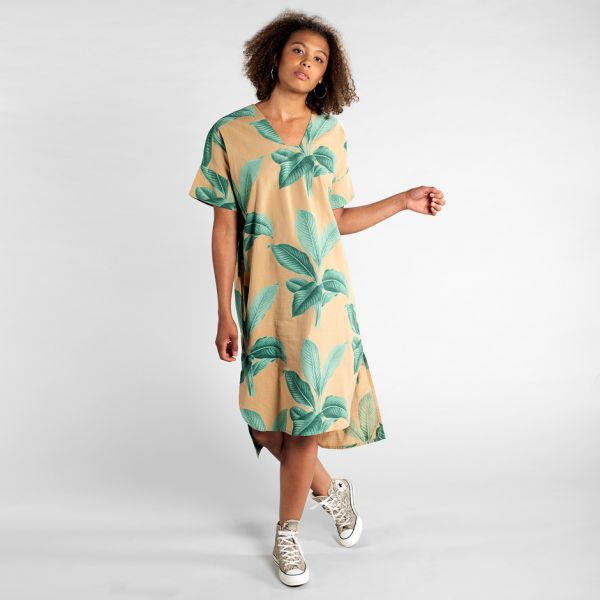 DEDICATED - KAFTAN LYSEKIL KHAKI LEAVES Dress