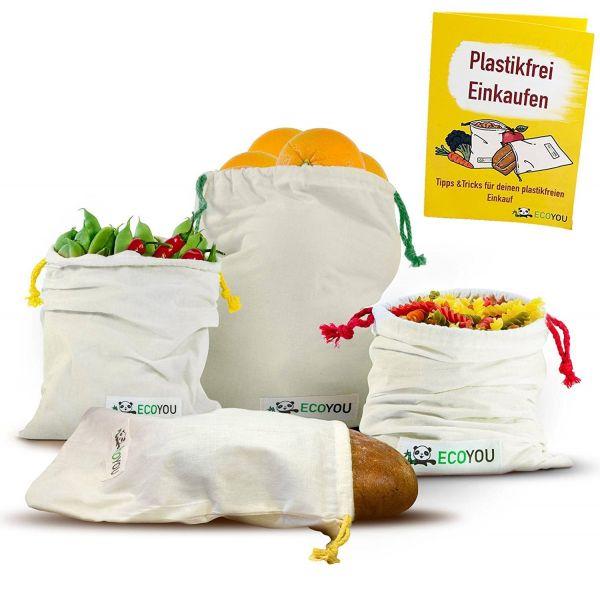 ECOYOU - OBST & GEMÜSENETZ + BROTBEUTEL aus Bio-Baumwolle 4 Stück