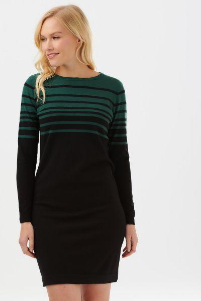 SUGARHILL BRIGHTON -  OLIVE OMBRE STRIPE KNIT Dress black/green