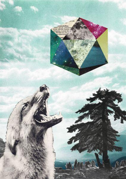 JANINE SOMMER - MONDSÜCHTIG Collage Poster Kunstdruck A4