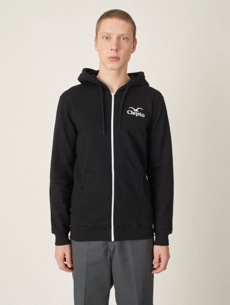 CLEPTOMANCX - CI  HOODED ZIPPER Kapuzen Sweatjacke black