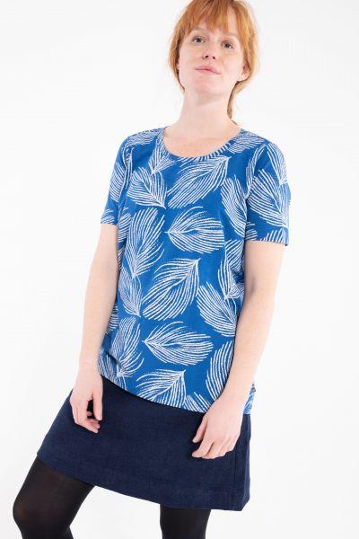 DANEFAE - ORGANIC SUPER DUPER TEE Shirt idigo/ beige palma