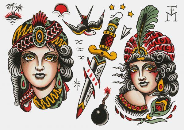 TATYOU - GIRLS - Klebetattoos Falk Malisch A4 Bogen 5 Motive