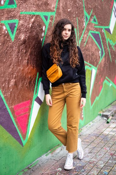 FJELLAA CROPPED STRAIGHT FIT MID WAIST Jeans caramel butter