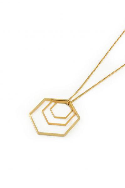 POTIPOTI - GEOMETRIC 3 HEXAGONS Halskette gold