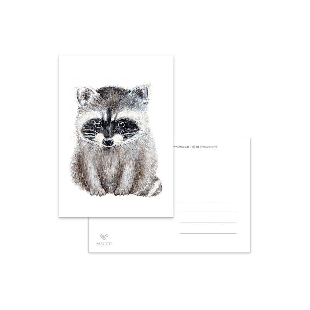 MALUU-RACOON-Postkarte-Waschb-r-A6