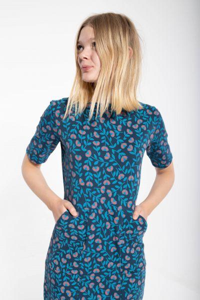 DANEFAE - ORGANIC POLLY DRESS Kleid dusty blue fleurie