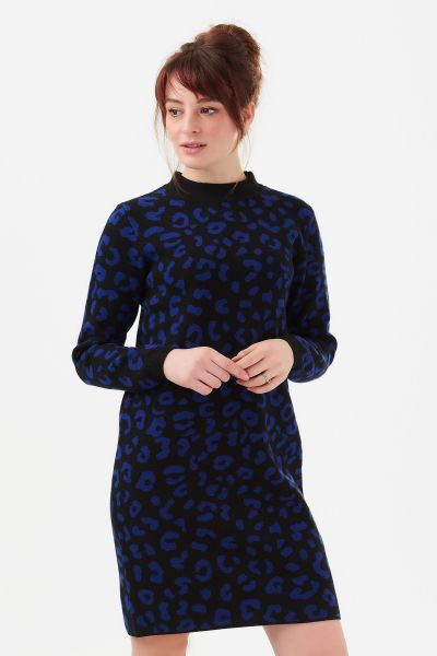 SUGARHILL BRIGHTON -  AXELLE LEOPARD KNIT Dress black/blue