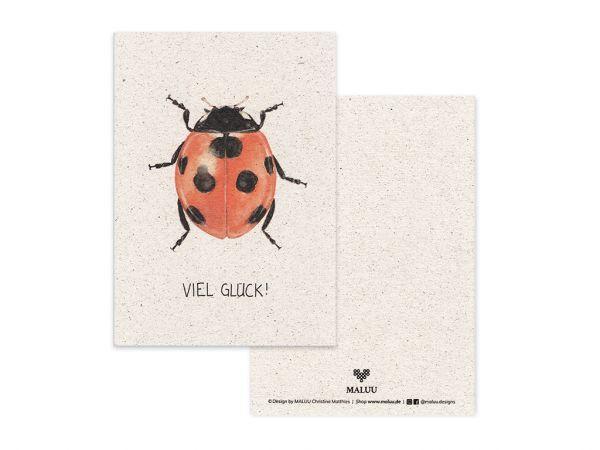 MALUU - GOOD LUCK Postkarte Geburtstagskarte A6
