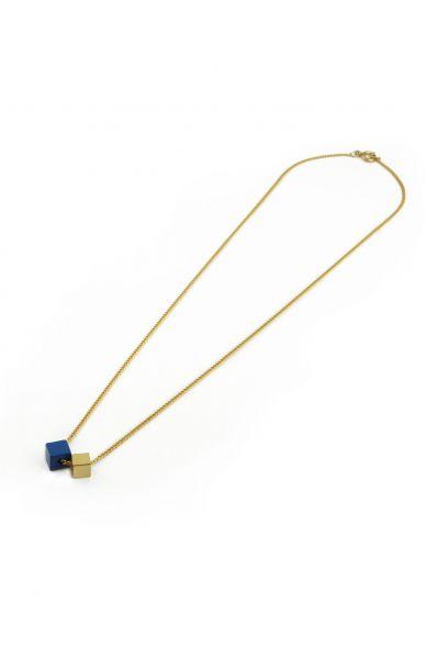 POTIPOTI - WOOD GOLD BLUE short Halskette