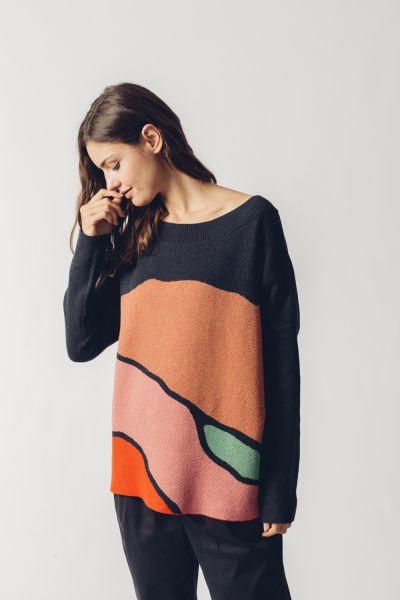SKFK - KARLE SWEATER Pullover ML geo jacquard multicolor