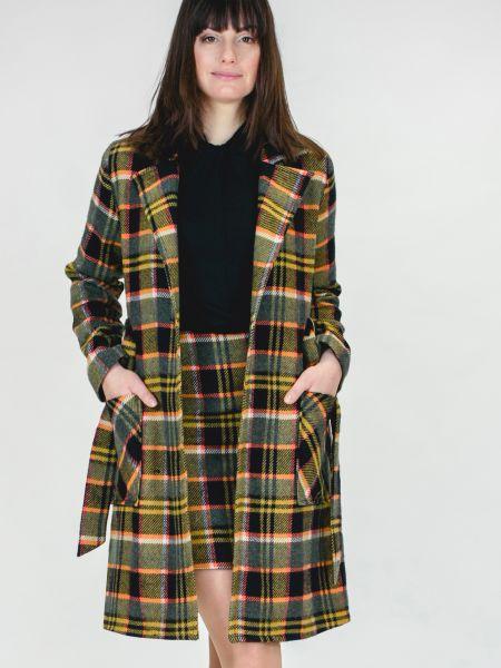 MADEMOISELLE YEYE - LET´s COZY UP COAT Jacke tartan black - mustard