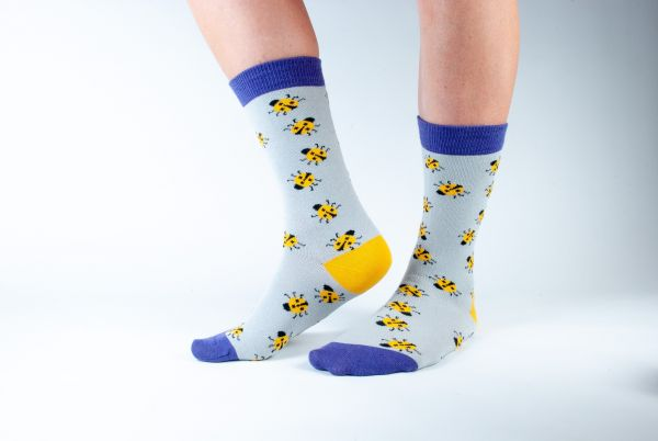 DORIS & DUDE - GREY LADYBIRDS SOCKS Damensocken grey