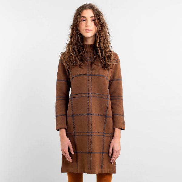 DEDICATED - LO BIG CHECK Dress brown