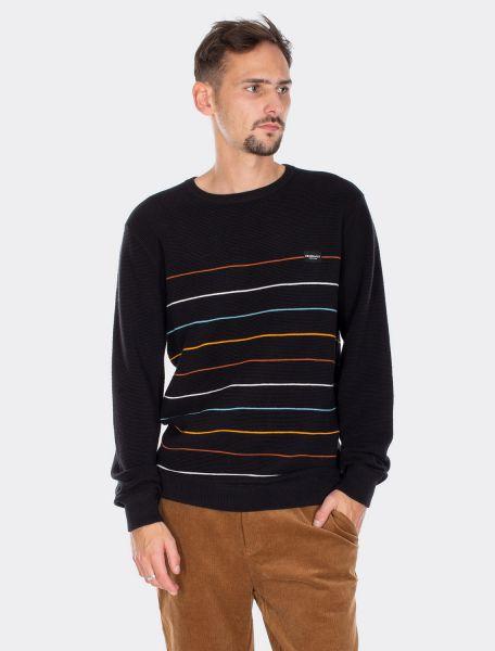 IRIE DAILY - AUF DECK STRIPE KNIT Sweater Pulluver stripe blck