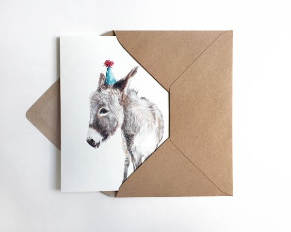 JANINE SOMMER - PARTYESEL Grußkarte - Geburtstagskarte Poster Kunstdruck A6