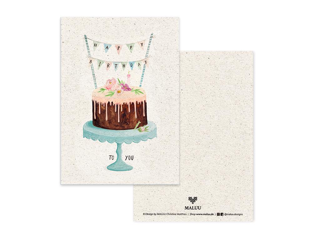 MALUU-BIRTHDAY-CAKE-Postkarte-Geburtstagskarte-A6