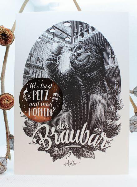 HELLOGEROWSKY - DER BRAUBÄR Postkarte Art Print