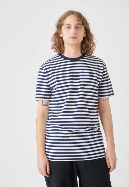 CLEPTOMANICX - STRIPE BASIC TEE Shirt dark navy