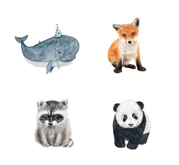MALUU - BÜGELBILD Textilaufbügler verschiedene Tiermotive