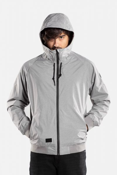 HOODED RIB JACKET grey melange