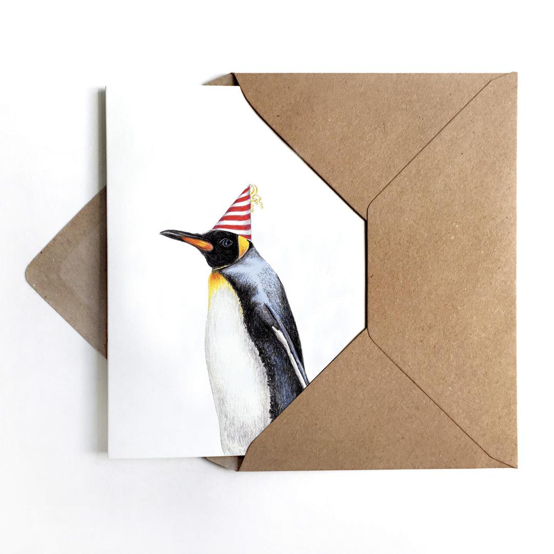 JANINE-SOMMER-PARTYPINGUIN-Grusskarte-Geburtstagskarte-Poster-Kunstdruck-A6