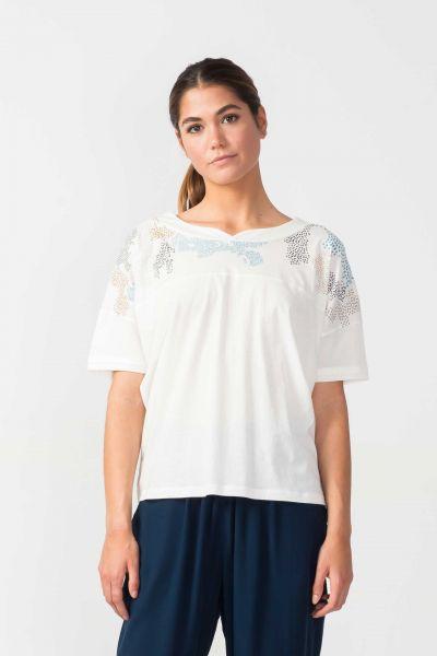Weißes, loose fit  Shirt aus Baumwolle mit U-Boot-Ausschnitt von SKFK.