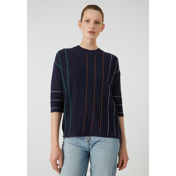 ARMEDANGELS - LUCCAA VERTICAL STRIPES Pullover evening blue