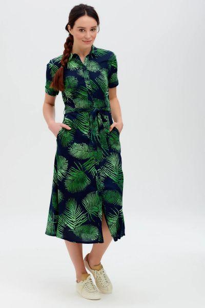 SUGARHILL BRIGHTON - LAURETTA BATIK SHIRT DRESS Kleid navy palm, fronds