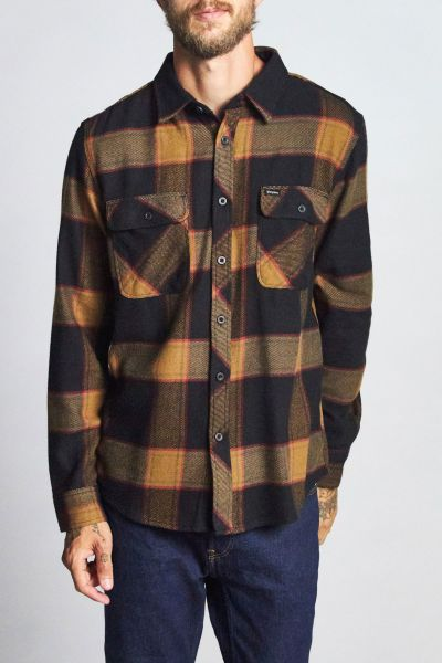 BRIXTON - BROWERY L/S FLANNEL Hemd black/gold