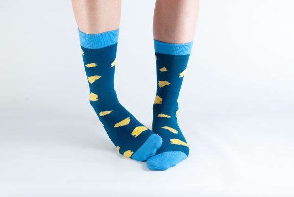DORIS & DUDE - NAVY CHEESE SOCKS Damensocken navy